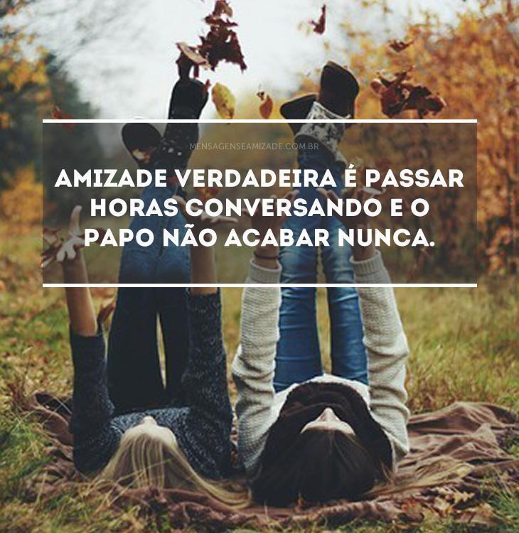 <p>Amizade verdadeira é passar horas conversando e o papo não acabar nunca.</p>