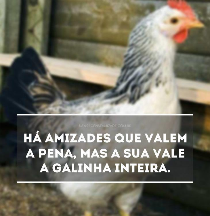 <p>Há amizades que valem a pena, mas a sua vale a galinha inteira.</p>