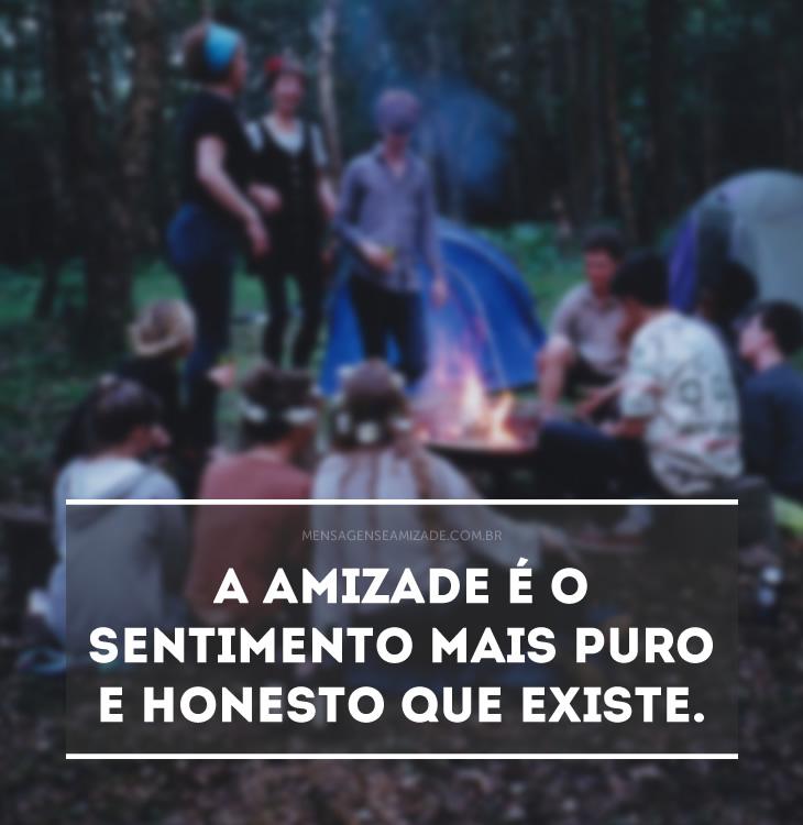 <p>A amizade é o sentimento mais puro e honesto que existe.</p>