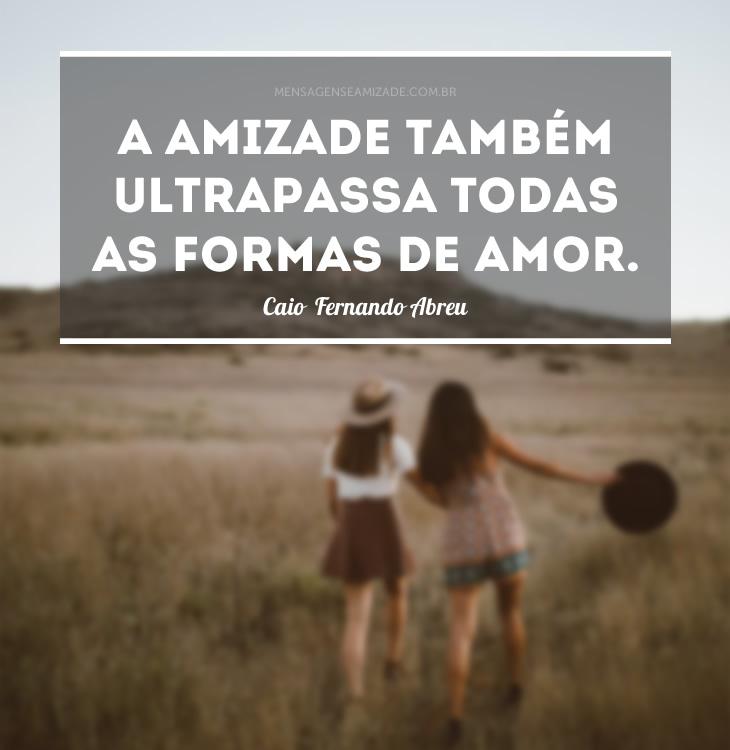 <p>A amizade também ultrapassa todas as formas de amor. (Caio Fernando Abreu)</p>