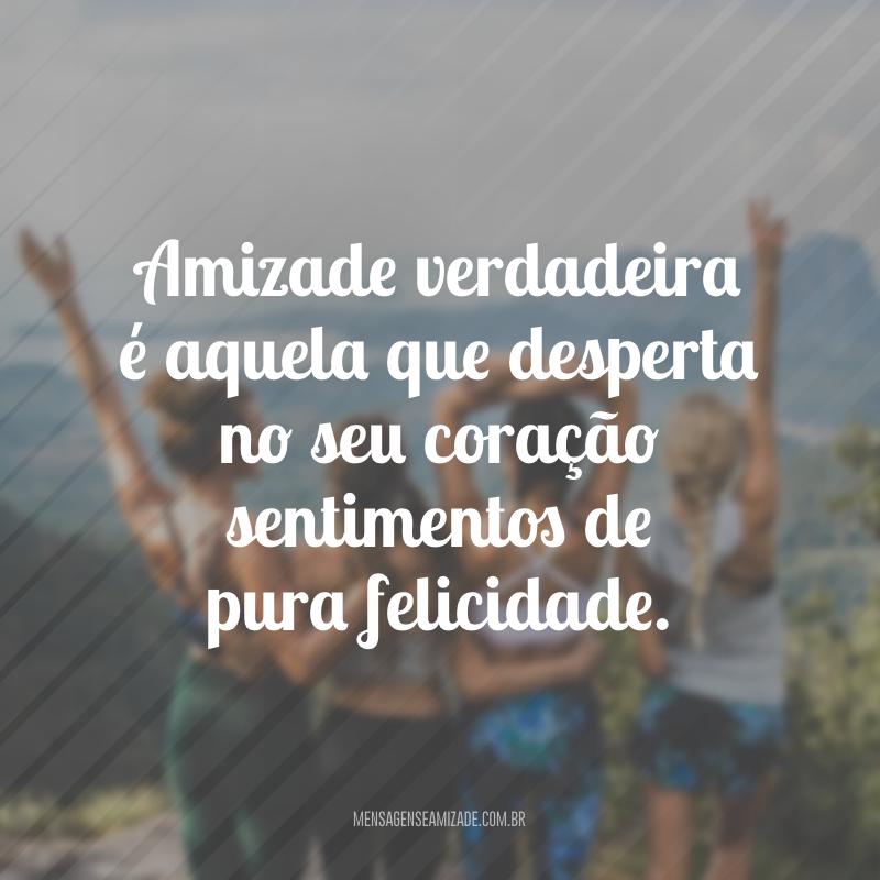 Amizade verdadeira é aquela que desperta no seu coração sentimentos de pura felicidade.