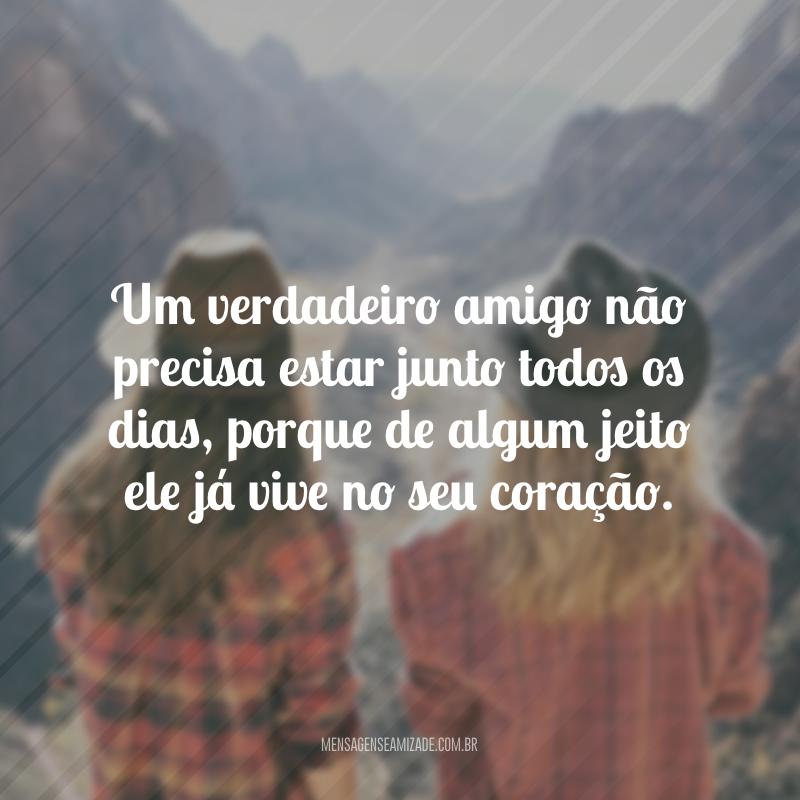 Um verdadeiro amigo não precisa estar junto todos os dias, porque de algum jeito ele já vive no seu coração.