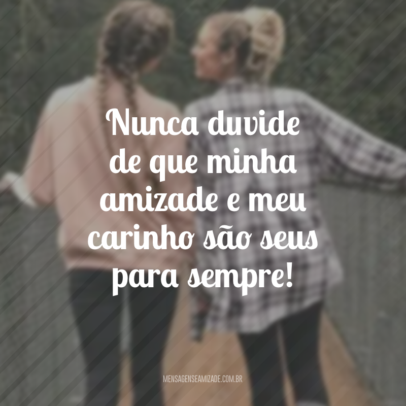 Nunca duvide de que minha amizade e meu carinho são seus para sempre!