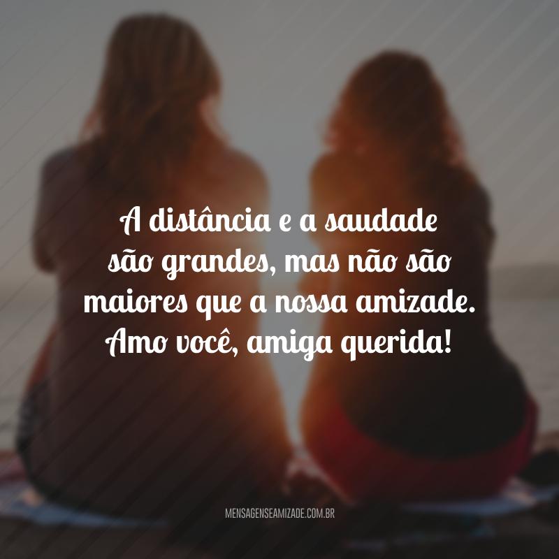 A distância e a saudade são grandes, mas não são maiores que a nossa amizade. Amo você, amiga querida!
