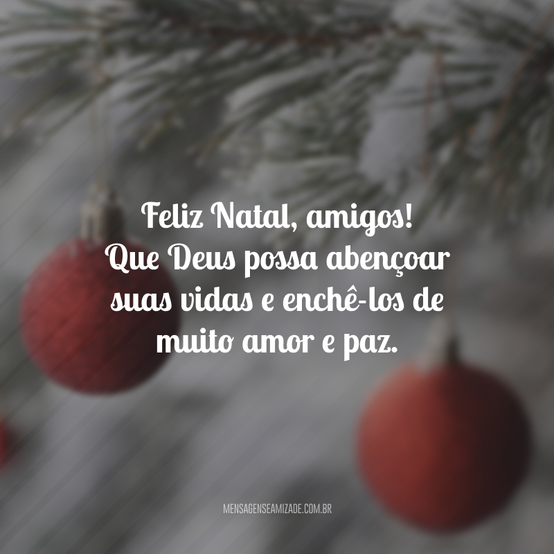 Feliz Natal, amigos! Que Deus possa abençoar suas vidas e enchê-los de muito amor e paz.