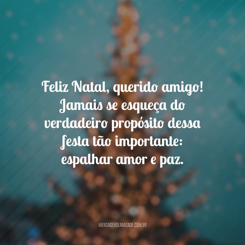 Feliz Natal, querido amigo! Jamais se esqueça do verdadeiro propósito dessa festa tão importante: espalhar amor e paz.