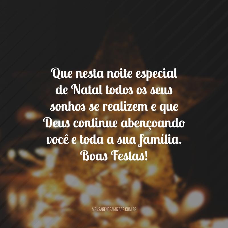 Que nesta noite especial de Natal todos os seus sonhos se realizem e que Deus continue abençoando você e toda a sua família. Boas Festas!