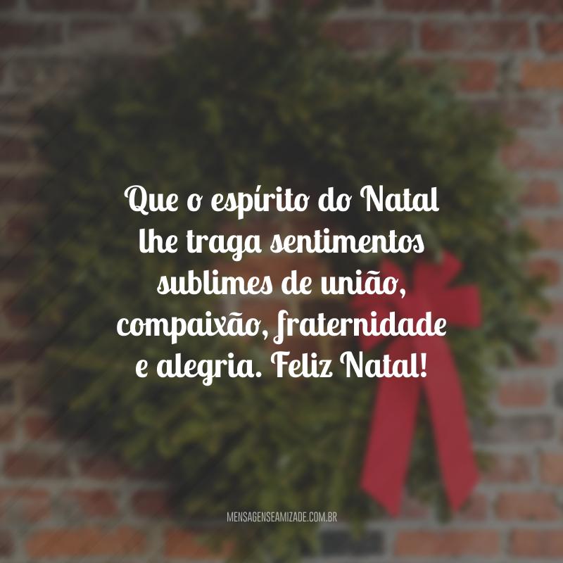 Que o espírito do Natal lhe traga sentimentos sublimes de união, compaixão, fraternidade e alegria. Feliz Natal!