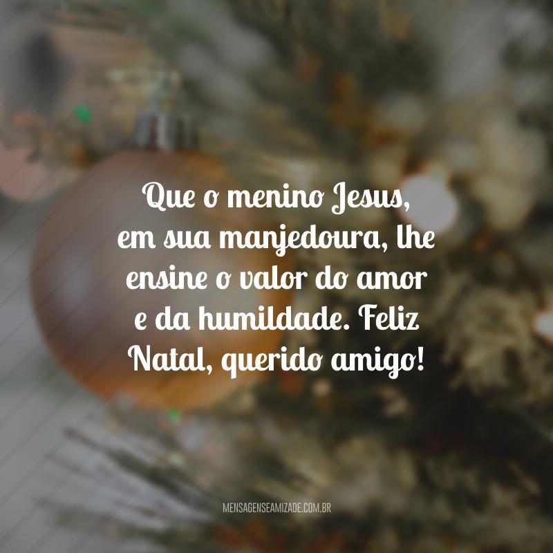 Que o menino Jesus, em sua manjedoura, lhe ensine o valor do amor e da humildade. Feliz Natal, querido amigo!