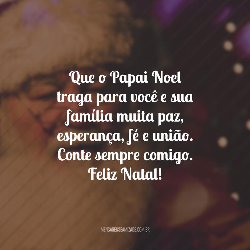 Que o Papai Noel traga para você e sua família muita paz, esperança, fé e união. Conte sempre comigo. Feliz Natal!