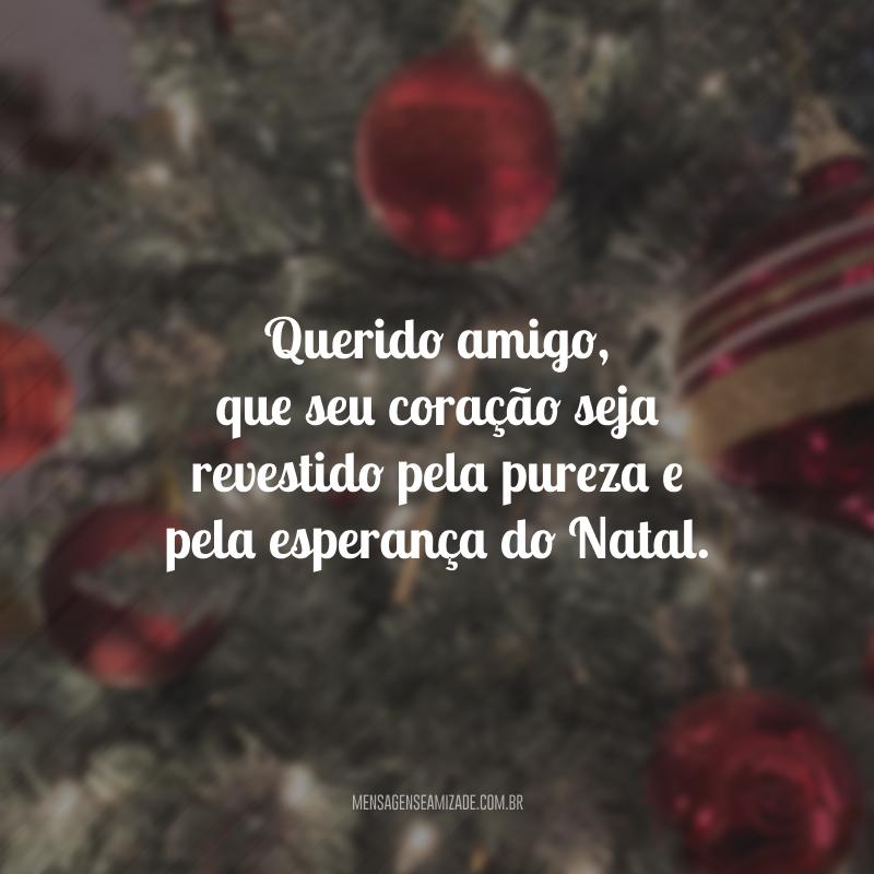 Querido amigo, que seu coração seja revestido pela pureza e pela esperança do Natal.